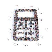 people calculator shape 3d - stock illustration
