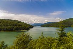 Vidraru Dam on Arges River. Arges, Romania. Hydro electric power station, on  - stock photo