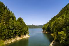 Vidraru Dam on Arges River. Arges, Romania. Hydro electric power station, on  Stock Photos