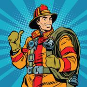 Rescue firefighter in safe helmet and uniform pop art - stock illustration