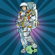 space warrior is the winner alien - stock illustration