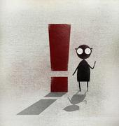 Man sitting by exclamation point on footpath - stock illustration