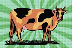 Color spotted farm cow - stock illustration