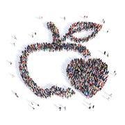 people apple healthy eating medicine 3d - stock illustration