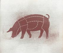 Butcher's diagram of pig against white background Stock Illustration