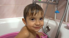 Portrate of child having fun in bath Stock Footage