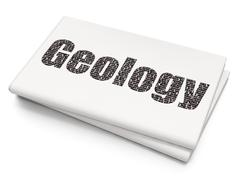 Learning concept: Geology on Blank Newspaper background Stock Illustration