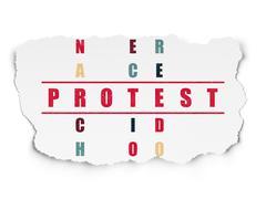 Politics concept: Protest in Crossword Puzzle - stock illustration