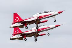 LEEUWARDEN, THE NETHERLANDS - JUNE 10, 2016: Turkish Air Force Demonstration  Stock Photos