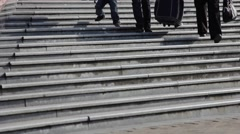 People walking up and down a flight of  stairs. Stock Footage