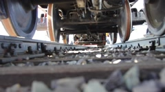 Bottom view of the train wheel. Stock Footage