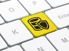 Database concept: Database With Shield on computer keyboard background Stock Illustration