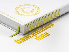 Law concept: book Copyright, Cancellation Date on white background - stock illustration