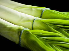 A cropped shot of a line of leeks - stock photo