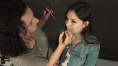 Artistic make-up view from above. Stock Footage