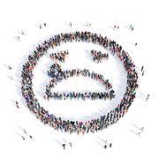 people 3d creative smiley - stock illustration