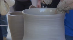 Employees Are Engaged in Manufacturing of Pots From Clay During Carrying Out of Stock Footage