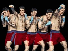 Multiple exposure of boxer punching Stock Photos