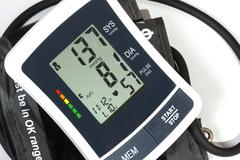 Close up View of Blood Pressure Monitor Cuff and Pipe - stock photo