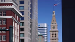 Denver Clock Tower Tilt Shift Stock Footage