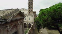 Aerial Exterior of Basilica of Sant Bonifacio e Alessio in Rome, Italy. Drone N. Stock Footage