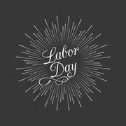 Labor day calligraphic handwriting lettering and star burst Stock Illustration