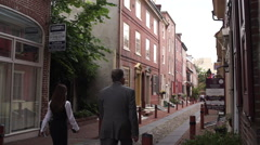 Philadelphia Alley, Crane Down Stock Footage
