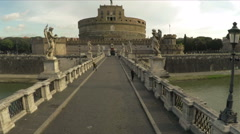 Castel Sant'Angelo or Mausoleum of Hadrian. Aerial Drone N. Stock Footage