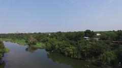 Aerial view of Colorado River Wildlife Sanctuary  - Austin, Texas, USA - stock footage