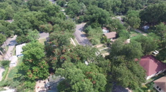 Aerial view of street traffic and residential neighborhood - Austin, Texas, USA Stock Footage