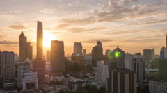 Bangkok building city skyline at sunset with garden on top view Stock Footage