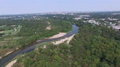 Aerial view of Colorado River Wildlife Sanctuary  - Austin, Texas, USA Stock Footage