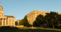 Old Capitol Building - Iowa City, Iowa Panning shot - Sunset - 4k Stock Footage
