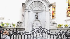 Manneken Pis Statue In Brussels, Zoom In Stock Footage