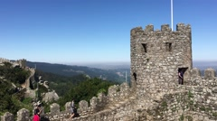 Tourists walking at the Castle of the Moors Stock Footage