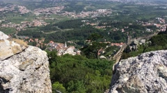 View from Castle of the Moors looking at the Palace of Sintra Stock Footage