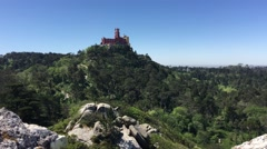 Pena Palace seen from Castle of the Moors Stock Footage