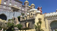 Tourists at The Pena Palace in Sintra Stock Footage