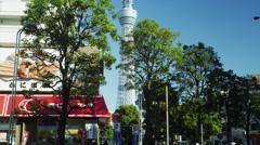 Camera Tilt of Tokyo Sky Tree Stock Footage