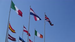 Union Jack flutters amongst other European flags Stock Footage