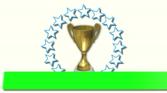 Green screen text banner on trophy with rotating stars Stock Footage