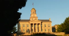 Old Capitol Building - Iowa City, Iowa Static, Sunset - 4k Stock Footage