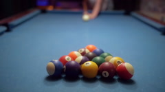POV Pool Break Shot Slow Motion Stock Footage