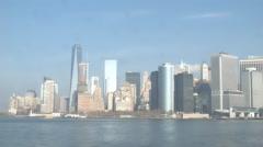 Sailing past New York Skyline Stock Footage