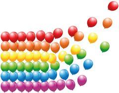 Rainbow Balloons Floating Away - stock illustration