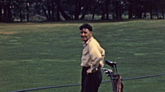 USA 1946: man playing golf Stock Footage