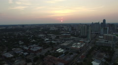 Aerial view of Austin skyline at nightfall - Austin, Texas, USA Stock Footage