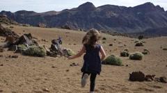 Girl running on Tenerife mountains Stock Footage