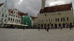 Town hall square in the Old city in Tallinn, Estonia Stock Footage