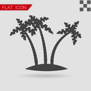 Tropical palm trees vector Flat Style with red - stock illustration
